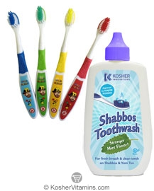 Kosher Innovations Kosher Shabbos Toothwash for Year Round and Passover Mint Flavor with Uncle Moishy Weekday Toothbrush FREE 1 Set
