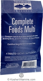 Trace Minerals Research Complete Foods Multi Vegetarian Suitable not Certified Kosher 4 Tablets
