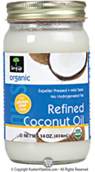 Tree of Life Kosher Organic Expeller Pressed Refind Coconut Oil 14 OZ