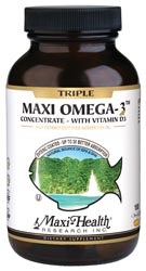 Maxi Health Kosher Triple Maxi Omega-3 Concentrate Fish Oil EPA/DHA with Vitamin D3 180 MaxiGels