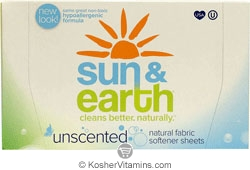 Sun & Earth Fabric Softener Dryer Sheets Unscented 6 Pack 80 Sheets