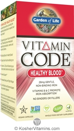 Garden Of Life Kosher Vitamin Code Healthy Blood 60 Capsules
