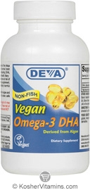 Deva Nutrition Vegan Omega-3 DHA 200 mg from Algae Not Certified Kosher 30 Softgels