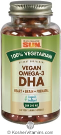 Health From The Sun Vegan Omega-3 DHA 100% Vegetarian Suitable not Certified Kosher 60 Vegetarian Softgels