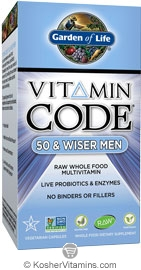 Garden Of Life Kosher Vitamin Code Raw 50 Wiser Men S Multi 120 Capsules