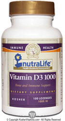 NutraLife Kosher Vitamin D3 1000 IU Chewable Cherry Flavor  100 Tablets
