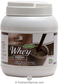 Nutri-Supreme Research Kosher Whey Protein Powder Dairy Cholov Yisroel Coffee Flavor 2 LBS