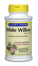 Natures Answer Standardized White Willow Bark Extract Vegetarian Suitable not Certified Kosher 60 Vegicaps