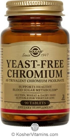 Solgar Kosher Yeast-Free Chromium 100 mcg (as Trivalent Chromium Picolinate) 90 Tablets