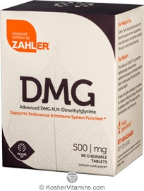 Zahlers Kosher Advanced DMG 500 Mg Cherry Flavor 90 Chewable Tablets