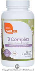 Zahlers Kosher B Complex 100 Mg Sustained Release  90 Vegetable Capsules
