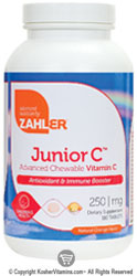 Zahlers Kosher Junior C 250 Mg Chewable Orange Flavor  180 Tablets
