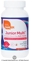 Zahlers Kosher Junior Multi Complete One-Daily Multi-Vitamin for Children Cherry Flavor  180 Chewable Tablets