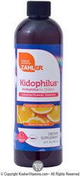 Zahlers Kosher Kidophilus (Liquid Acidophilus) Natural Orange Flavor 12 FL OZ