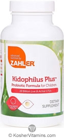 Zahlers Kosher Kidophilus Plus (Chewable Probiotic Formula) 10 Billion Live & Active CFUs 90 Chewable Tablets