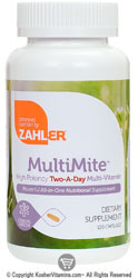 Zahlers Kosher MultiMite (High Potency Twice-Daily Multi-Vitamin) 120 Capsules