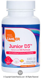 Zahlers Kosher Junior D3 1000 IU Chewable Orange Flavor 120 Chewables