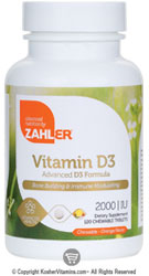 Zahlers Kosher Vitamin D3 2000 IU Chewable Orange Flavor  120 Chewable Tablets