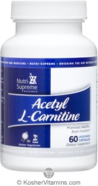 Nutri-Supreme Research Kosher Acetyl L-Carnitine 500 Mg Exp 03/16 60 Vegetarian Capsules