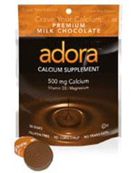 Adora Kosher Calcium 500 Mg with Vitamin D3 & Magnesium Milk Chocolate Dairy 30 Disks