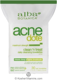 Alba Botanica Acnedote Clean 'n Treat Towelettes 30 Towelettes