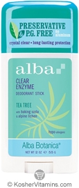 Alba Botanica Clear Enzyme Deodorant Stick Tea Tree 2 OZ