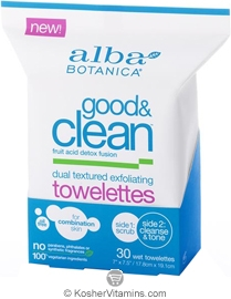 Alba Botanica Good & Clean Dual Textured Exfoliating Towelettes 30 Towelettes
