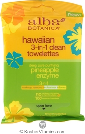 Alba Botanica Hawaiian 3-In-1 Clean Towelettes Deep Pore Purifying Pineapple Enzyme 8 Pack 10 Towelettes