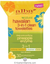 Alba Botanica Hawaiian 3-in-1 Clean Towelettes Deep Pore Purifying Pineapple Enzyme 30 Towelettes