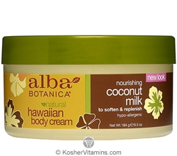 Alba Botanica Hawaiian Body Cream Nourishing Coconut Milk 6.5 OZ