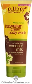 Alba Botanica Hawaiian Cream Body Wash Nourishing Coconut Milk 7 OZ