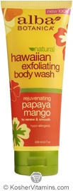 Alba Botanica Hawaiian Exfoliating Body Wash Rejuvenating Papaya Mango 7 OZ