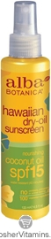 Alba Botanica Hawaiian Dry Oil Sunscreen Nourishing Coconut Oil SPF 15 4.5 OZ