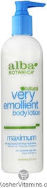 Alba Botanica Very Emollient Body Lotion Maximum 12 OZ