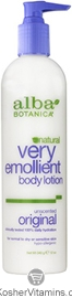 Alba Botanica Very Emollient Body Lotion Unscented Original 12 OZ