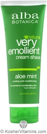 Alba Botanica Very Emollient Cream Shave Aloe Mint 8 OZ
