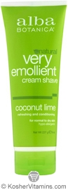 Alba Botanica Very Emollient Cream Shave Coconut Lime 8 OZ