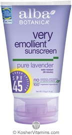 Alba Botanica Very Emollient Sunscreen Broad Spectrum SPF 45 Pure Lavender 4 OZ