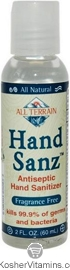 All Terrain HandSanz Antiseptic Hand Sanitizer Fragrance Free 2 OZ