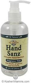 All Terrain HandSanz Antiseptic Hand Sanitizer Fragrance Free 8 OZ