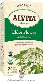 Alvita Kosher Elder Flower Herbal Tea Organic Caffeine Free 24 Tea Bags