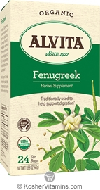 Alvita Kosher Fenugreek Herbal Tea Organic Caffeine Free 24 Tea Bags