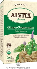 Alvita Kosher Ginger-Peppermint Herbal Tea Organic Caffeine Free 24 Tea Bags