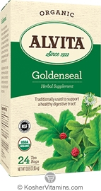 Alvita Kosher Goldenseal Herbal Tea Organic Caffeine Free 24 Tea Bags