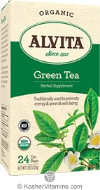 Alvita Kosher Green Tea Herbal Organic 24 Tea Bags
