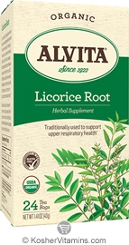 Alvita Kosher Licorice Root Herbal Tea Organic Caffeine Free 24 Tea Bags