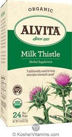 Alvita Kosher Milk Thistle Herbal Tea Organic Caffeine Free 24 Tea Bags