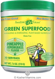 Amazing Grass Kosher Green Superfood Drink Powder Pineapple Lemongrass 7.4 OZ