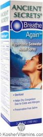 Ancient Secrets Breath Again Hypertonic Seawater Nasal Spray 3.38 OZ