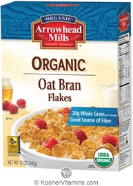 Arrowhead Mills Kosher Organic Oat Bran Flakes Cereal Dairy 12 OZ